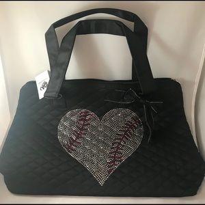 Handbags - Tote bag with baseball heart rhinestone design